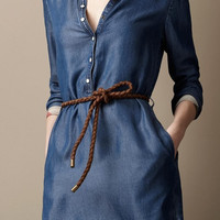 Blue Denim Sleeve Button-Up Collared Tie-Waist Dress