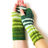 Green Striped Knit Fingerless Gloves Mittens arm wrist warmers winter accessories