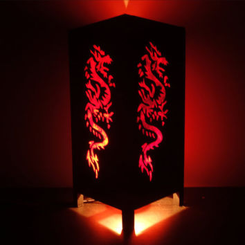 Asian Oriental Red Japanese Dragon Bedside Floor or Table Lamp or Bedside Wood Paper Light Shades Furniture Home Decor