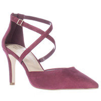 Cole Haan Juliana Ankle Strap Pointed Toe Dress Pumps - Cabernet