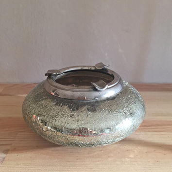 Vintage Ashtray /Vintage Sterling and Glass Ashtray/Retro Glass Ashtray/Vintage Glass Ashtray/Round Ashtray/Mirror Underneath Ashtray