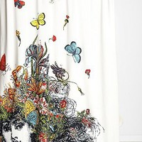 RococcoLA Girl With Butterflies Shower Curtain