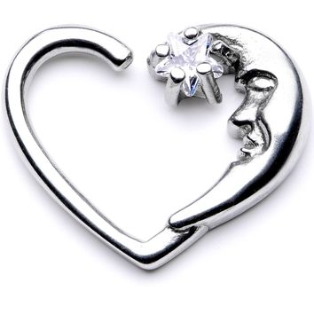 """16 Gauge 3/8"""" Clear CZ Gem Star in the Moon Left Heart Closure Ring"""
