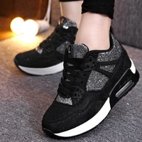 Women Platform Glitter Running Shoes With Lace Tie Closure