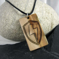 Mens Lightning Bolt Necklace - Wood Shield Necklace - Wood Pendant - Lightning Shield Pendant on Leather Necklace