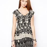 ASOS Smock Dress In Mono Floral And Paisley Print
