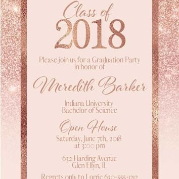 Rose Gold Graduation Invitations