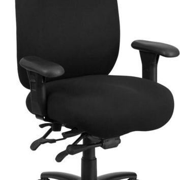 Series 24/7 Intensive Use, Multi-Shift, Big & Tall 350 lb. Capacity Black Fabric Multi-Functional Swivel Chair with Foot Ring