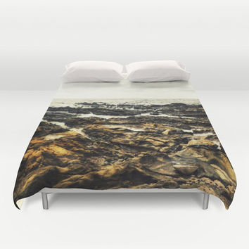 Samara Reef - Duvet Cover, Coastal Gray & Brown Ocean Surf Accent, Beach Boho Chic Bed Blanket Throw Cover. In Twin, Full, Queen, King Size