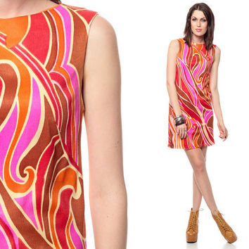 Psychedelic Mini Dress 60s MOD Purple Abstract Print SWIRL 70s Hippie Brown Shift Go Go sleeveless Vintage 1960s Bright Festival gogo Small