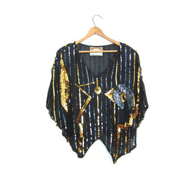 Vintage 80s Sequins Top Black Gold Cropped Blouse SHEER Sequined 70s Disco Glam Crop Top Striped Black SILK Blouse Womens Medium Large