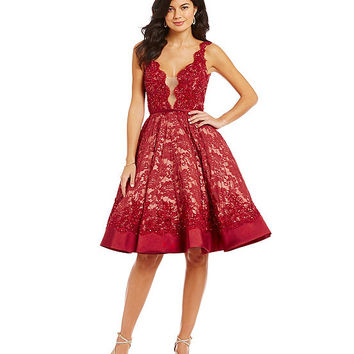 Mac Duggal, Scalloped Lace Illusion Fit and Flare Party Dress | Dillards