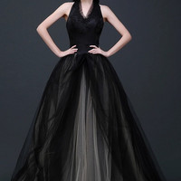Magic Black Satin Halter Wedding Dress