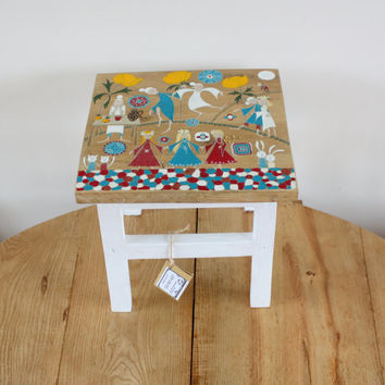 Wooden bench - painted furniture - wood furniture - small bench - wooden stool  - solid oak stool - wedding gift - housewarming gift