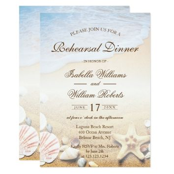 Tropical Beach Wedding Starfish Rehearsal Dinner Card
