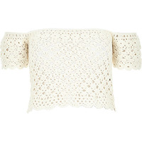 River Island Womens Cream crochet bardot top