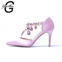 GENSHUO Wedding Shoes Pumps New Hot Satin Crystal Beading Pink High Heels Women D'Orsay Pumps Wedding Bridal SHOES
