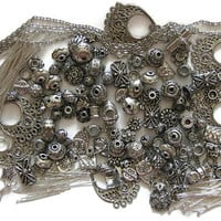 Metal Beads Silvertone Spacer Beads Bead Caps Jewelry Findings Over 275 Pcs Mix Earring Findings Jewelry Chain Head Pins Eye Pins Jump Rings