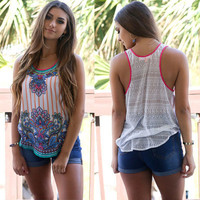 Women's Trending Popular Fashion 2016 Summer Floral Printed Retro Vintage Top Women Tank Vest Shirt Top T-shirt  _ 3695