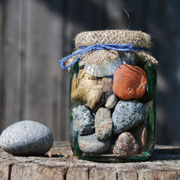 Nautical home decor Beach In the Jar. Beach finds / beach stones in vintage glass jar. Rustic driftwood beach cottage decor. Relaxation toy.