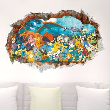 Home Decoration Accessories 3D Wall Stickers Muraux Cartoon Animation  For Kids Room Removable Decals Adesivo De ParedeKawaii Pokemon go  AT_89_9