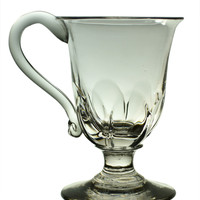 Fluted Punch or Eggnog Blown Glass Cup Antique English 19th Century