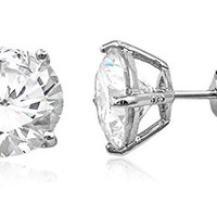 925 Sterling Silver Clear Cz Stone Round Stud Earrings (rhodium-plated-silver, 9 Millimeters)