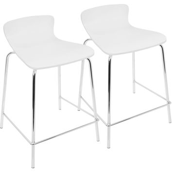 Woodstacker Stackable Contemporary Counter Stools, White (Set of 2)