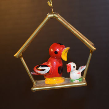 Birdhouse Birds Ornament Vintage Gold Glass Birdhouse Momma Bird Baby Bird Christmas Tree Decoration Christmas Collectible Stocking Stuffer