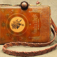 Vintage Leather Book Shoulder Purse Garden Magic by BeeZbyScranton