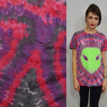 Alien Shirt Tie Dye Small Men Soft Grunge Hipster Neon Green Women Unisex Clothing handmade Tie dye tee Red Violet Maroon Black