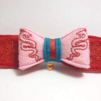Chinese Warrior Princess inspired 3D felt bow felt clippie physical item made to order
