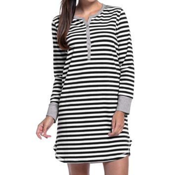 Long Sleeve Stripe Nursing Nightgown