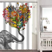 The Happy Elephant shower curtains adorabel bathroom heppy shower curtains.
