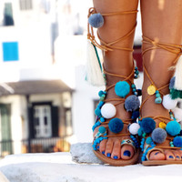 "POM POM Sandals, Leather Sandals, Gladiator sandals, ""Hippieland"" Greek Sandals, Colorful Sandals, beaded sandals, boho leather shoes"