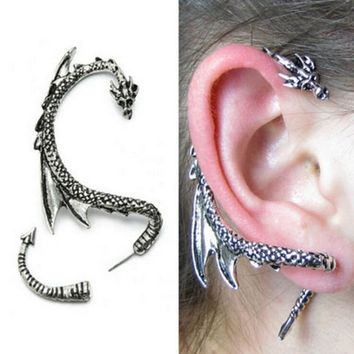Women Cool Personalized Gothic Punk Game of Thrones Dragon Ear Cuff Clip Piercing Earring Black Silver Bronze Gold Free