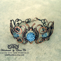 Copper wire Jewelry Wire wrapped jewelry Copper wire bracelet with blue beads Copper bracelet Sky blue pendant Gift for women Antique copper