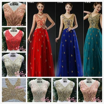 23*17cm  Flower Sequin Body Embroidery Neckline Lace Applique Trimmings Collar for Evening Dress Sewing DIY