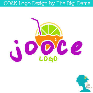 OOAK Premade Logo Design: Fruit Juice with Straw and Bubbles in Lemon Yellow, Orange, Berry Purple and Lime Green