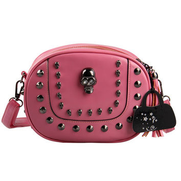 2016 Fashion Women Rivet Skull Bags Tassel Messenger Bags Vintage Small  Leather Shoulder Bag Crossbody Purse Cool Punk Style