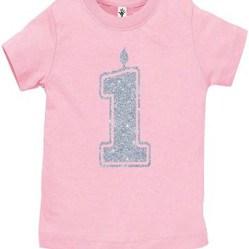Baby Girl 1st Birthday Shirt - 1 Silver Glitter Flake Outfits