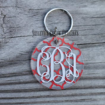 "Personalized 2"" Light Weight Acrylic Quarter Foil Monogrammed Key Chain"