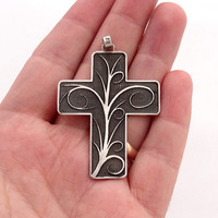 New Handmade Solid Silver Cross Pendant, 925 Sterling Silver Charm with Floral Ornaments and Darkening Patina, sizes 50 x 40 mm, Exceptional