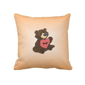 Hug Bear on American Mojo Throw Pillow from Zazzle.com