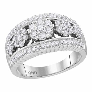 10kt White Gold Womens Round Diamond Symmetrical Flower Cluster Band Ring 3/4 Cttw