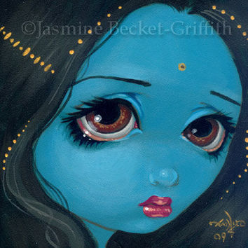 Faces of Faery 4 blue goddess fairy face art print by Jasmine Becket-Griffith 6x6