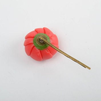 Handmade decorative metal hair pin with cold porcelain pink ranunculus flower