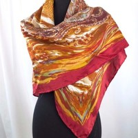 Silk Scarf Rust Gold Red & Lt Blue 42 inch Square Hand Rolled Edges Hijab India