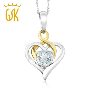 10K Two-Tone Gold 0.40 Ct Round Sky Blue Aquamarine Heart Pendant Necklace