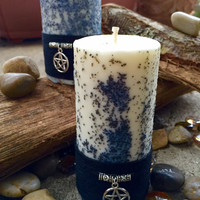 Wiccan spell candle w/black salt-Altar candle-ritual candle-wiccan candle-witchcraft candle-witch tools-charmed w/pentacle